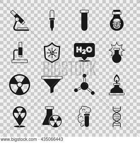 Set Dna Symbol, Alcohol Or Spirit Burner, Chemical Explosion, Test Tube And Flask, Shield Protecting