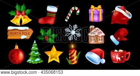 Christmas Ui Game Icon Set, Vector Winter Holiday Symbol Collection, X-mas Cartoon Object Kit. Santa