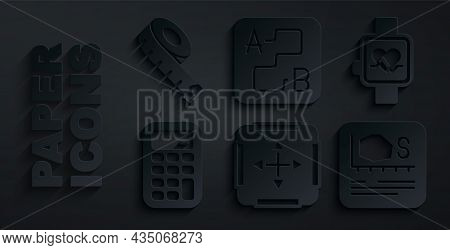 Set Area Measurement, Smart Watch, Calculator, Route Location And Measuring Tape Icon. Vector