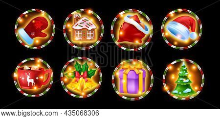 Christmas Casino Slot Machine Game Icon Set, Winter Holiday Gambling Symbol Kit, X-mas Pine Tree. On