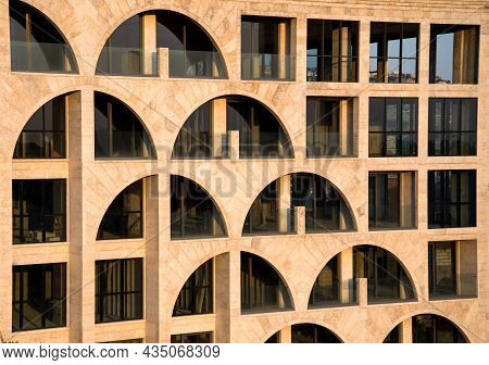 Modern Stone Facade Of The Building In Geometric View