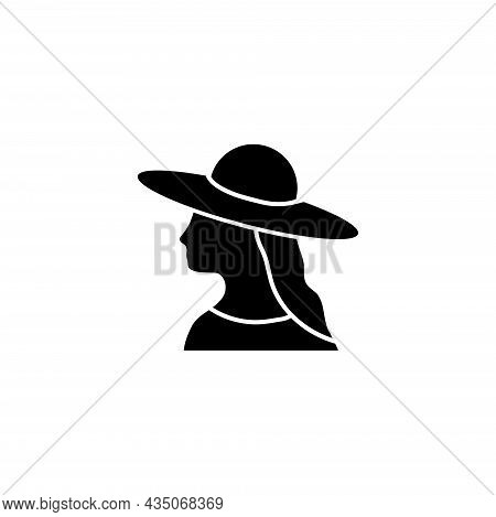 Woman Wearing Hat, Camera Mode Or Wc. Flat Vector Icon Illustration. Simple Black Symbol On White Ba