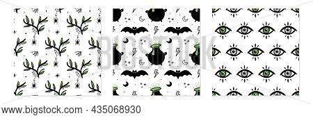 Set, Collection Of Three Vector Seamless Pattern Backgrounds For Halloween, Witchcraft And Magic Des