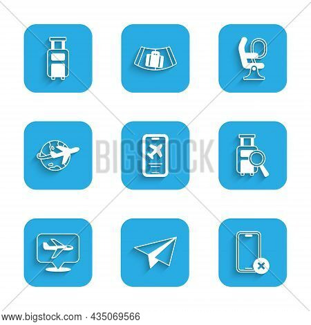 Set Mobile With Ticket, Paper Airplane, No Cell Phone, Lost Baggage, Plane, Globe Flying, Airplane S