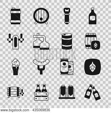 Set Beer Bottle, Hop, Wooden Barrel, Bottle Opener, Brewing Process, Tap, Metal Beer Keg And Icon. V