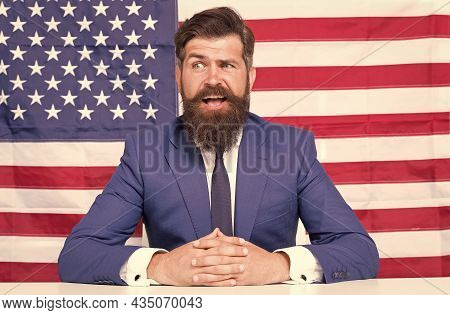 Man Officiary Placement Working For American Government Usa Flag Background, Confuse Concept