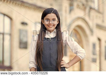 Keep Your Eyes Safe. Happy Kid Wear Glasses Outdoors. Fashion Eyewear. Eye Protection. Vision Correc