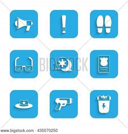 Set Hexagram Sheriff, Police Electric Shocker, Badge With Id Case, Sheriff Hat, Safety Goggle Glasse