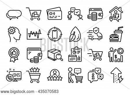 Vector Set Of Search Package, Web Call And Messenger Line Icons Set. Calendar Report, Money Wallet A