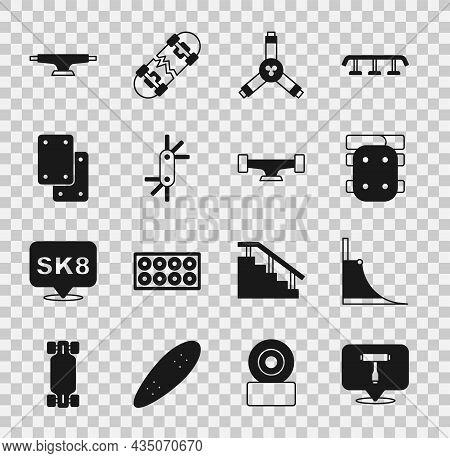 Set Skateboard T Tool, Park, Knee Pads, Y-tool, Tool Allen Keys, Wheel And Icon. Vector