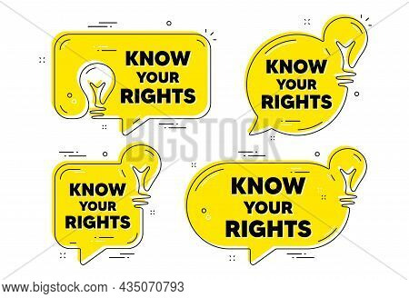 Know Your Rights Message. Idea Yellow Chat Bubbles. Demonstration Protest Quote. Revolution Activist