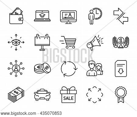 Vector Set Of Savings, Teamwork And Road Banner Line Icons Set. Sale Offer, Online Video And Maximiz