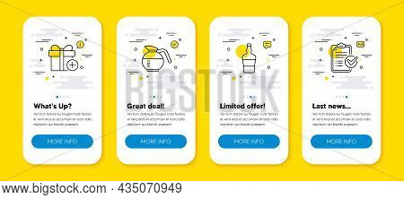 Vector Set Of Scotch Bottle, Coffeepot And Add Gift Line Icons Set. Ui Phone App Screens With Line I