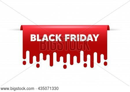 Black Friday Sale. Red Ribbon Tag Banner. Special Offer Price Sign. Advertising Discounts Symbol. Bl