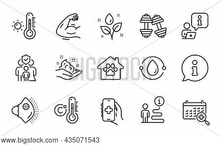 Healthcare Icons Set. Included Icon As Cold-pressed Oil, Dumbbells, Celsius Thermometer Signs. Stron