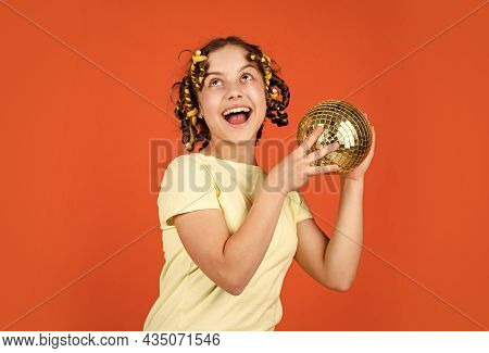 Fancy Teen. Hairstyle For Disco Party. Have Fun. Retro Party. Child Hold Golden Disco Ball. Cheerful