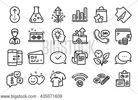 Vector Set Of Phone Communication, Smile And Fireworks Line Icons Set. Calendar Report, Money Wallet