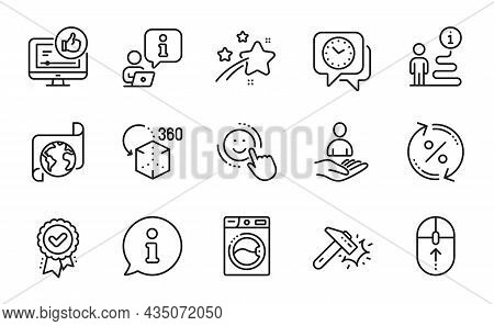 Technology Icons Set. Included Icon As Augmented Reality, Swipe Up, Approved Award Signs. Clock, Rec