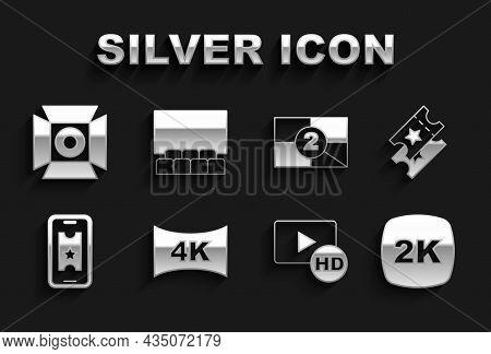 Set Screen Tv With 4k, Cinema Ticket, 2k Ultra Hd, Hd Movie, Tape, Frame, Buy Cinema Online, Old Fil