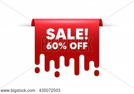 Sale 60 Percent Off Discount. Red Ribbon Tag Banner. Promotion Price Offer Sign. Retail Badge Symbol