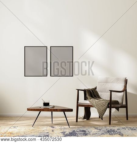 Poster  Frame Mock Up In Scandinavian Minimalist Interior Background With Armchair With Blanket And
