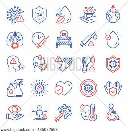 Medical Icons Set. Included Icon As Eu Close Borders, Electronic Thermometer, Coronavirus Signs. Cor