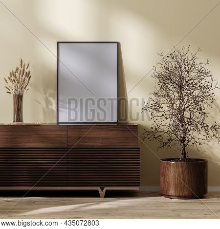 Poster Frame Mock Up On Wooden Chest Of Drawers In Living Room Home Interior With Dried  Grass Plant