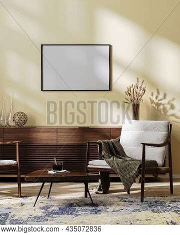 Horizontal Frame Mock Up In Cozy Modern Living Room Interior Mock Up In Light Brown Tones, Scandinav