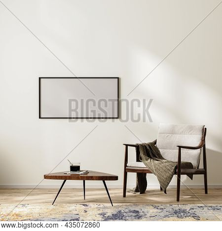 Horizontal Frame Mock Up In Scandinavian Minimalist Interior Background With Armchair With Blanket A