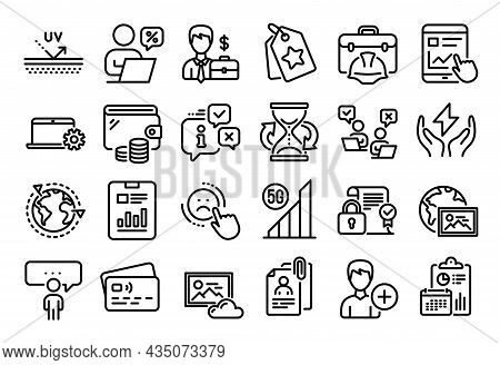 Vector Set Of Outsourcing, Internet Report And Businessman Case Line Icons Set. Calendar Report, Mon