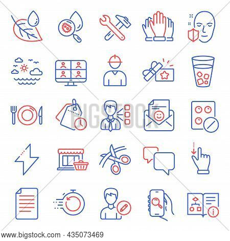 Business Icons Set. Included Icon As Food, Spanner Tool, Scissors Signs. Medical Tablet, Face Protec