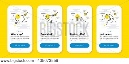 Vector Set Of Video Conference, Investment Graph And Talk Bubble Line Icons Set. Ui Phone App Screen