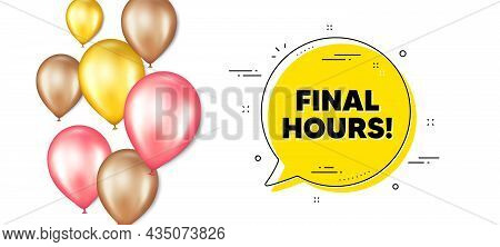 Final Hours Sale. Balloons Promotion Banner With Chat Bubble. Special Offer Price Sign. Advertising