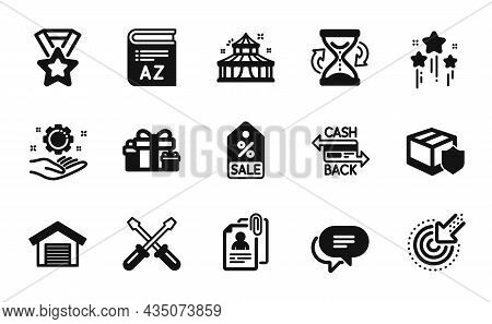 Vector Set Of Circus, Targeting And Sale Coupon Icons Simple Set. Hourglass, Text Message And Screwd
