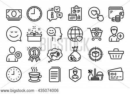 Vector Set Of International Love, Time And Good Mood Line Icons Set. Calendar Report, Money Wallet A
