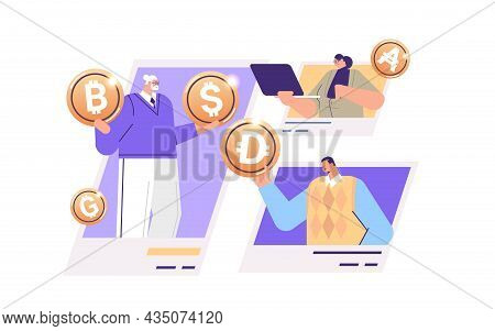 Businesspeople Holding Golden Crypto Coins Cryptocurrency Mining Virtual Money Digital Currency Bloc