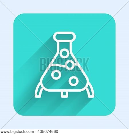 White Line Test Tube And Flask Chemical Laboratory Test Icon Isolated With Long Shadow. Laboratory G