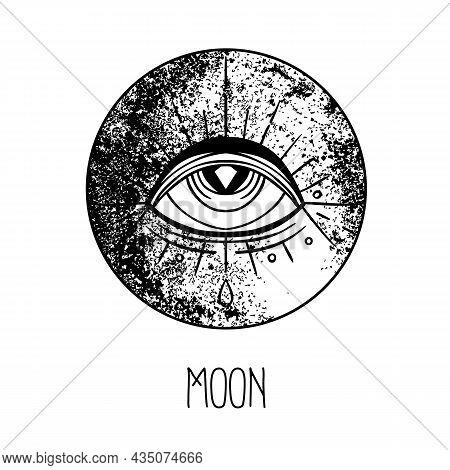 Eye Of Providence. Masonic Symbol. All Seeing Eye Inside Triple Moon Pagan Wicca Moon Goddess Symbol
