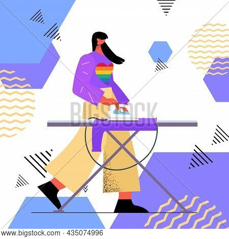 Housewife Ironing Clothes Woman Wearing Rainbow Lgbt Sweater Transgender Love Housework Concept