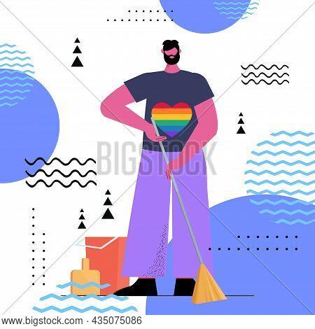 Man Wearing Rainbow Lgbt T-shirt Guy Sweeping Floor Transgender Love Housework Concept