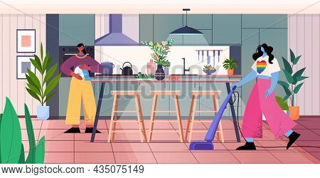 Lesbian Family Vacuuming Floor Cleaning Service Housekeeping Transgender Love Housework Concept