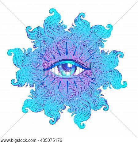 Seraphim With Blue Eye. Psychedelic Hallucination. Vibrant Vector Illustration. 60s Hippie Colorful