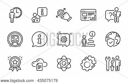 Technology Icons Set. Included Icon As Web Report, Waiting, Repairman Signs. Atom Core, Touchscreen