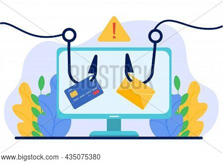 Account Hacking Concept. Cards In Computer Hooked. Credit Or Debit Card Information. Network Securit