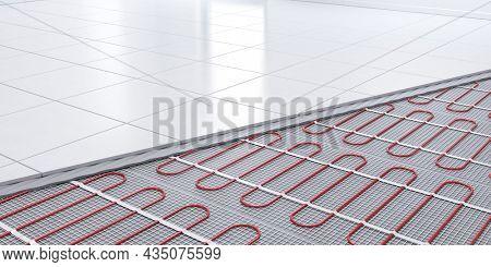 Heating concept, underfloor heating. 3d rendering of Heat floor layers cutaway.