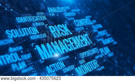 Risk Management Concept. Risk Management with words. Business, Technology and internet network concept. 3d rendering