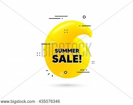 Summer Sale Text. Yellow 3d Quotation Bubble. Special Offer Price Sign. Advertising Discounts Symbol