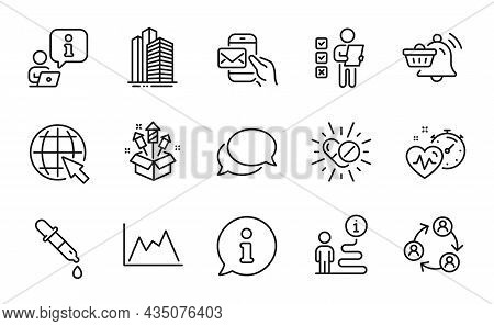 Business Icons Set. Included Icon As Cardio Training, Chemistry Pipette, Diagram Signs. Skyscraper B