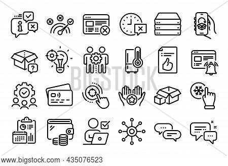 Vector Set Of Reject Web, Refrigerator And Dots Message Line Icons Set. Calendar Report, Money Walle