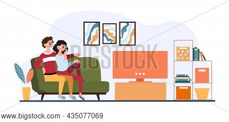 Couple Watching Tv. Man And Girl Hugging On Sofa, Romantic Evening. Stay At Home, Quarantine, Selfis